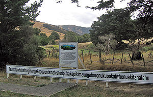 Taumatawhakatangihangakoauauotamateaturipukakapikimaungahoronukupokaiwhenuakitanatahu - Sign on the hill showing its 85-character name