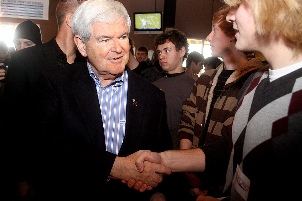 Newt Gingrich Ames Iowa Handshake 2012