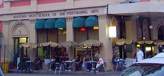 Newtown High School of the Performing Arts - Cafe next to one entrance to the school