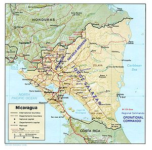 Nicaraguan Democratic Force - This map shows FDN bases along the Honduran border, and the home areas of FDN units. Note that the Honduran government would close the FDN's western bases, and units sometimes operated outside their native regions.