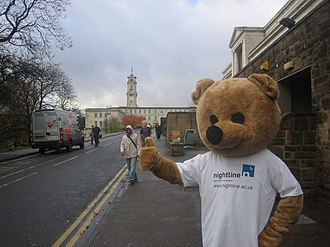 University of Nottingham Students' Union - The Nightline Bear (pictured) is a mascot used to promote awareness of a confidential student listening service available to all students