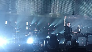 Nine Inch Nails - Nine Inch Nails performing at the Staples Center in November 2013; from left to right: Pino Palladino, Ilan Rubin, Trent Reznor, and Alessandro Cortini