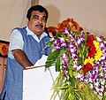 Nitin Gadkari addressing during the 'Bhumi Pujan' ceremony of four laning of Biramitrapur-Brahmani bypass end section of NH-23 with new 6-lane bridge over river Brahmani, in Rourkela, Odisha.jpg