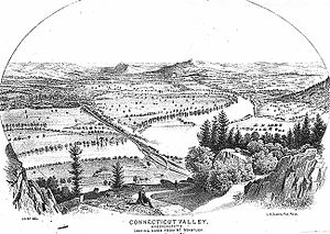 """Mount Tom Range - View from Mount Nonotuck.  From """"History of the Connecticut Valley, Massachusetts Vol 1"""" 1879, by Louis Everts"""