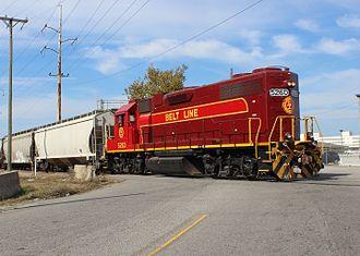 Norfolk and Portsmouth Belt Line Railroad - NPBL EMD GP38-2 number 5260 at Elm Avenue crossing in Portsmouth, Virginia.