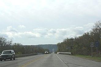 North Channel Bridge - Image: North Channel Bridge centerline on Mississippi River from Buffalo County WI toward Winona MN