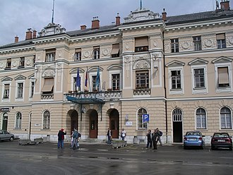 Nova Gorica railway station - Station building, in front of Trg Evrope/Piazza della Transalpina.  This image is taken from the centre of the piazza which is crossed by the Italian-Slovene border.
