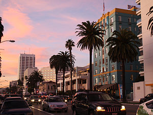 Santa Monica, California - Santa Monica's Ocean Avenue at sunset