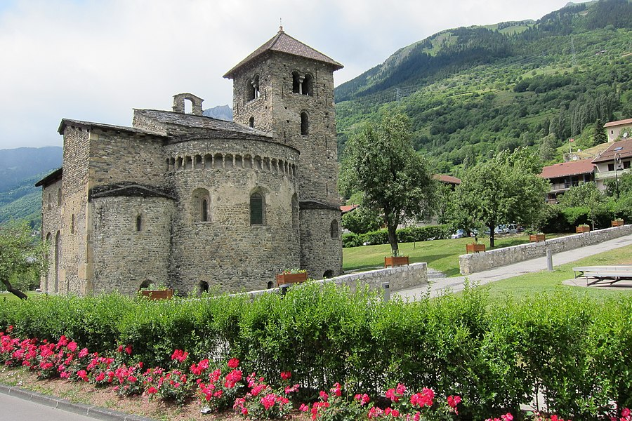 Old Roman church at Aime in the Isere valley with lovely flowerdecoration