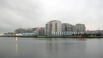2010 Olympic Village - The Olympic Village shot from across False Creek, two days before the Opening Ceremonies of the 2010 Olympics.