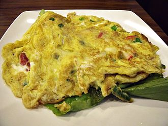 Omelette - Omelette served with lettuce