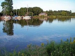 Ontonagon River - The Ontonagon River in Ontonagon, just above its mouth at Lake Superior