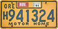 Oregon 1981 Motor Home License Plate, Orange Irwin-Hodson H9 Prefix.jpg