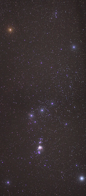 Orion Nebula - The constellation of Orion with the Orion Nebula (lower middle)