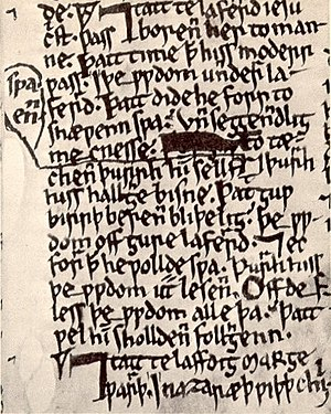 English: Page from the 13th century Ormulum. N...