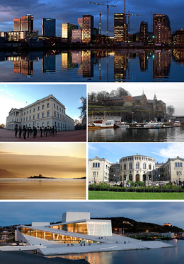 From upper left: Rising skyline over Bjørvika, Royal Palace, Akershus Castle, sunset over the Oslofjord, Stortinget, Oslo Opera House