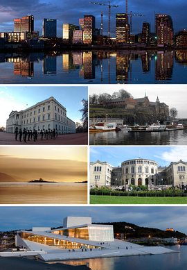 From upper left: Rising skyline over Bjørvika, Royal Palace, Akershus Fortress, sunset over Oslofjord, Stortinget, Oslo Opera House