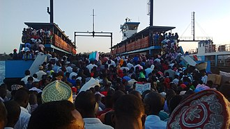 Transport in Kenya - Overloaded ferry in Mombasa