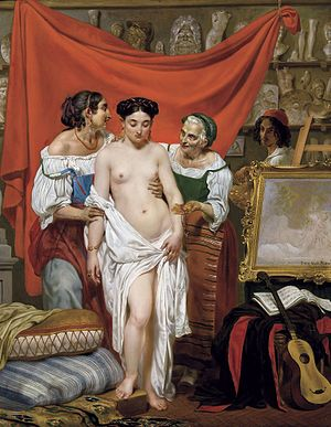 Philippe-Jacques van Bree - The first pose. The Artist's studio in Rome, 1833 Private collection