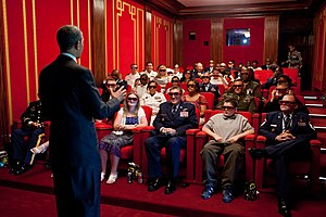 White House Family Theater - Guests watch Men in Black 3 in 3D in the White House Family Theater in 2012.