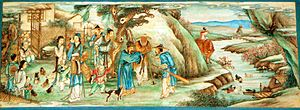 The Peach Blossom Spring - Depiction of the tale on a painting from the Long Corridor, Summer Palace, Beijing