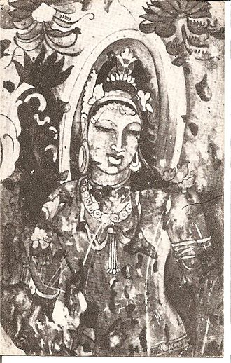 Bagh Caves - PAINTING IN BAGH CAVE 2 Bodhisattva
