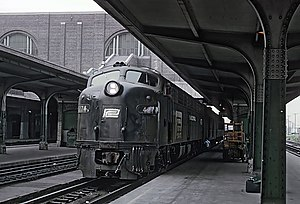 Buffalo Central Terminal - A Penn Central locomotive at Buffalo Central Terminal on July 20, 1969