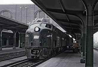 Buffalo Central Terminal - A Penn Central locomotive at Buffalo Central Terminal on July 20, 1969