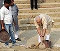 PM Modi participates in Shramdaan as part of Swachhta Abhiyan at Assi Ghat, Varanasi.jpg