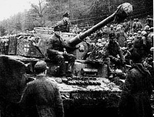 Siege of Bastogne - A Panzer IV of Kampgruppe Peiper of the 1st SS Panzer Division Leibstandarte SS Adolf Hitler. The 101st Airborne Division fought this elite Waffen SS division when the 101st attacked towards Bourcy, northeast of Bastogne, on 13 January 1945.