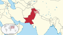 Area controlled by Pakistan in dark red; claimed and disputed but uncontrolled territory marked in light red