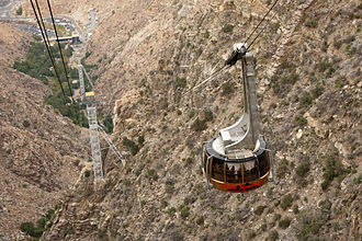 Palm Springs Aerial Tramway - The Palm Springs Aerial Tramway – a car climbing from the valley station below.