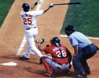 Rafael Palmeiro (batter), one of the MLB players suspended for steroid use Palmeiro swing2.png