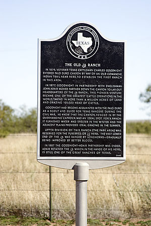 JA Ranch - Texas state historical sign marking the JA ranch in Palo Duro Canyon State Park