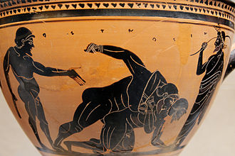 Pankration - Boxers (the hands are bound) fighting under the eyes of a trainer. Side A of an Attic black-figure skyphos, c. 500 BC.