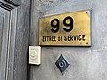 Panneau - entrée de service au 99 Boulevard des Belges (Lyon) et sonnette.jpg