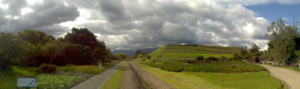 Tumebamba - Panoramic view of the ruins of Pumapunku