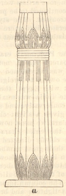 From bottom to top: A drawing of a lotus column. The lotus column sits on a base and has five stalks rising in a bundle.