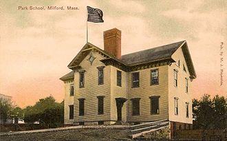 Milford, Massachusetts - Old Park School in 1909