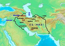 Map centered on the Middle East, the shaded green area represents the extent of the Parthian Empire.