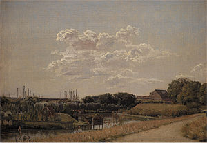 Langelinie - Christen Købke: A view from Kastellet's rampart towards Langelinie and the Naval Basec. c. 1832