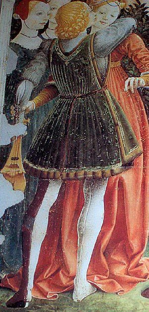 Hose (clothing) - Florentine particolored hose, c. 1470