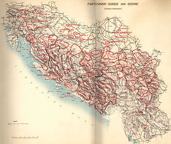 a colour map of Yugoslavia with detachment areas of responsibility marked in red