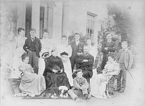 John Widgery, Baron Widgery - The Passmore family at Grilstone, Bishop's Nympton in 1894. The father is Edmund Passmore, his wife Lydia Jutsum, heiress of Grilstone. Bertha Passmore, front row far right, was the mother of John Widgery, 1st Baron Widgery
