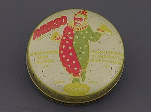 Shoe polish - Payaso (clown) brand shoe polish from mid 20th-century Mexico, part of the permanent collection of the Museo del Objeto del Objeto.