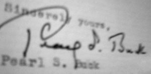 English: Autograph of Pearl S Buck