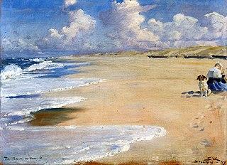Marie Krøyer maler på Stenbjerg strand