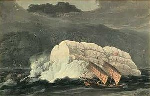 Pedra Branca, Singapore - Thomas and William Daniell's etching of Pedra Branca before the building of Horsburgh Lighthouse, c. 1820