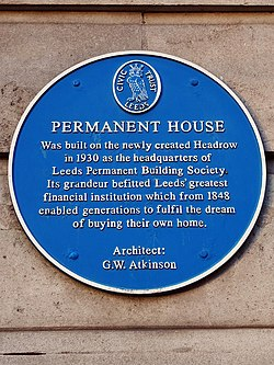 Photo of Leeds Permanent Building Society, George Walter Atkinson, and Permanent House blue plaque