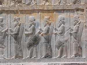 Xenophon - Bas-reliefs of Persian soldiers together with Median soldiers are prevalent in Persepolis. The ones with rounded caps are Median.